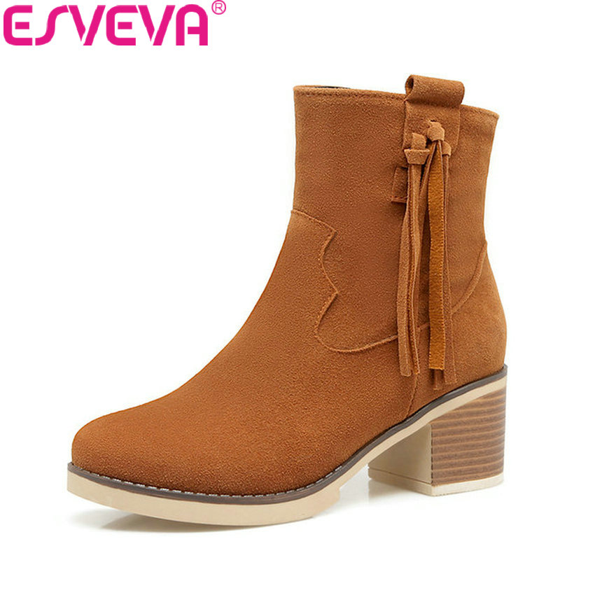 ESVEVA 2018 Women Boots Out Door Handmade Square High Heel Suede Leather Ankle Boots Synthetic Round Toe Ladies Boots Size 34-43