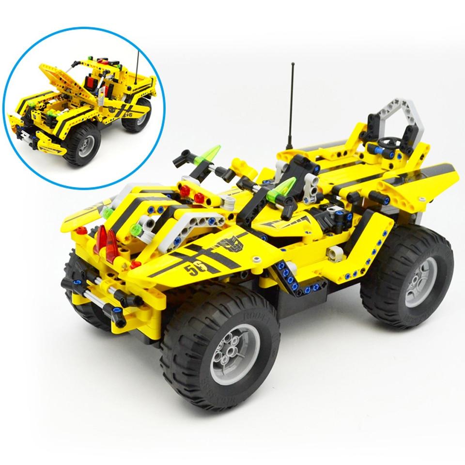 Technic City 2 en 1 Transformable jeu de blocs de construction de voiture de course 2.4G télécommande électrique RC pick-up jouet Fit legoed