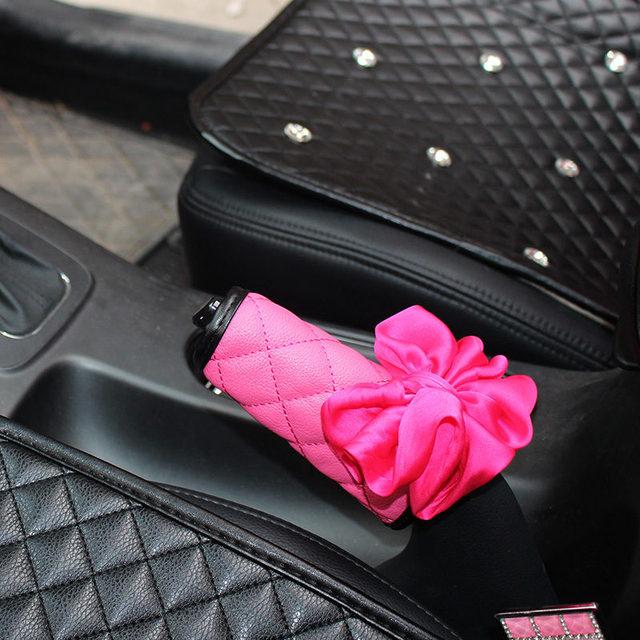 Accesorios para el Interior del coche Rosa Roseo rojo flor volante cubierta para el cuello soporte de almohada tija cubierta de cinturón juego de freno de mano