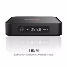 S905 T95M Android TV Box Amlogic Quad Core 64Bit Android 5.1 1080 P Full HD 4 K * 2 K Media Player Set Top Box 2 GB 8 GB 2.4 GHz WiFi