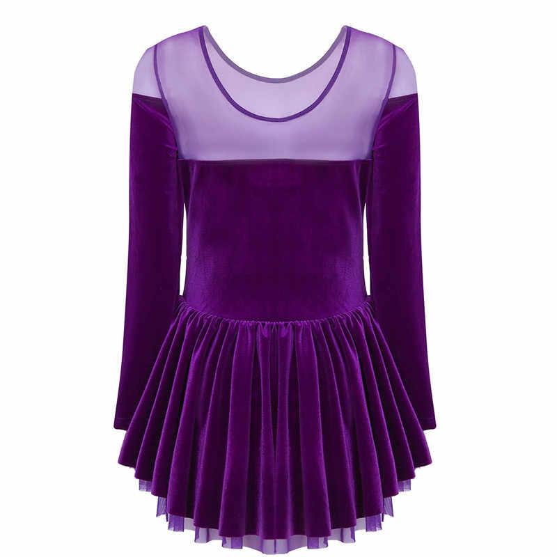 Для женщин s Фигурное катание танцевальные платья Для женщин Взрослый трико, балетное платье, зимняя одежда с длинными рукавами, бархатное платье Купальник для балета, танцев, платье