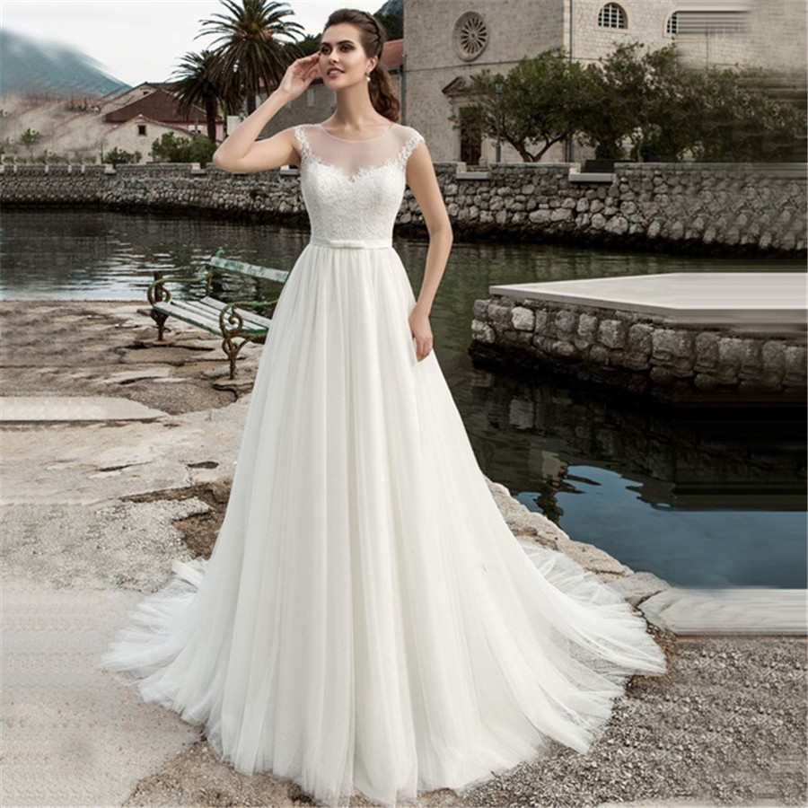 2019 Scoop Neck Sleeveless Lace Wedding Dress See Through White/Ivory Tulle A line Bridal Gown Customized Vestidos de Novia-in Wedding Dresses from Weddings & Events
