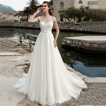 2020 Scoop Neck Sleeveless Lace Wedding Dress See Through White/Ivory Tulle A-line Bridal Gown Customized Vestidos de Novia