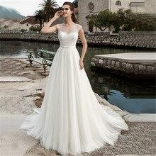 2020 رقبة سكوب بدون أكمام دانتيل فستان زفاف شفاف أبيض/عاجي تول a line فستان الزفاف مخصص Vestidos de Novia