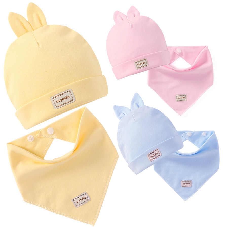 ทารกแรกเกิด Elastic Headscarf คู่ชั้นผ้าฝ้ายเด็กฤดูร้อนหมวกเด็ก Bibs ชุดสีชมพูสีเหลืองและ Sky blue Modis 482