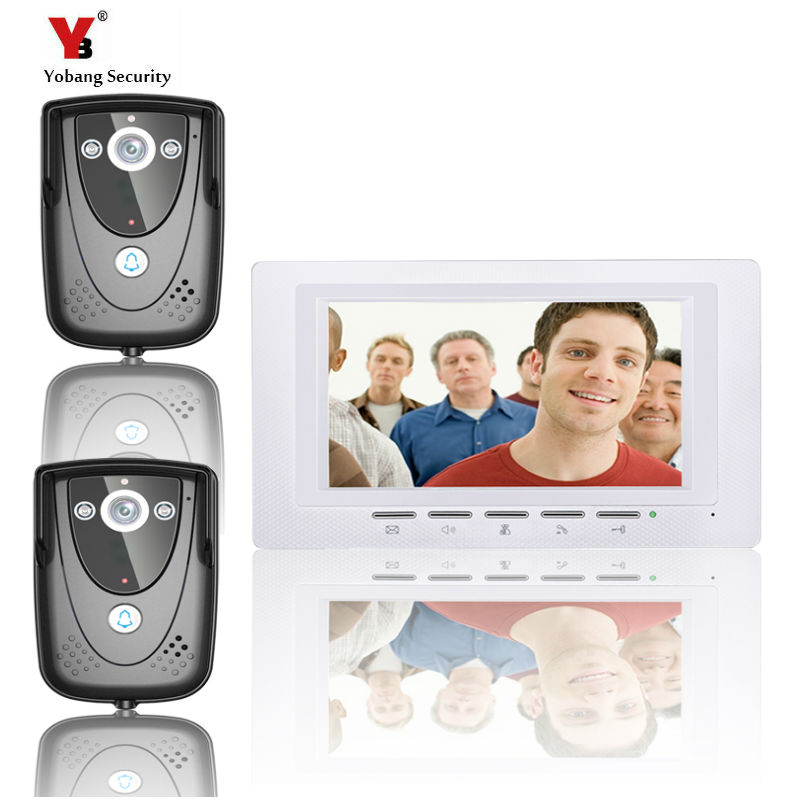 Yobang Security freeship 7Inch Video Door Phone Doorbell Home Security intercom Color TFT LCD HD Decor Wired Door  Night Vision hot sale tft monitor lcd color 7 inch video door phone doorbell home security door intercom with night vision