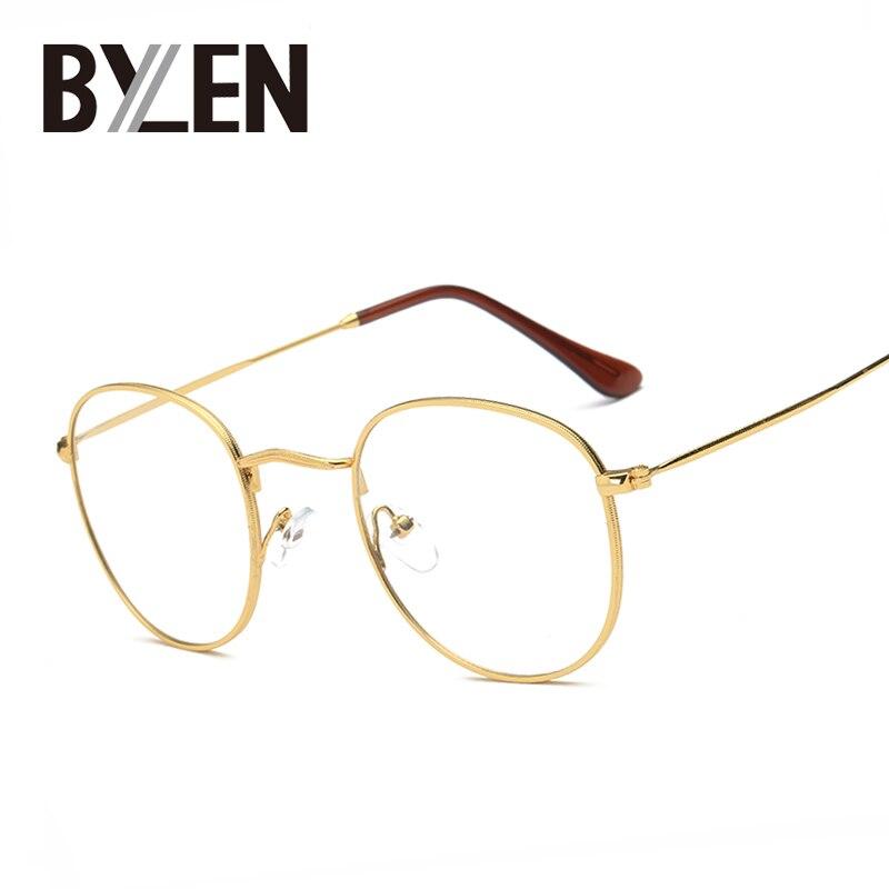 BYLEN Retro rámy na brýle Pánské velké kovové skleněné rámečky dámských luxusních unisexových optických čirých brýlí na brýle