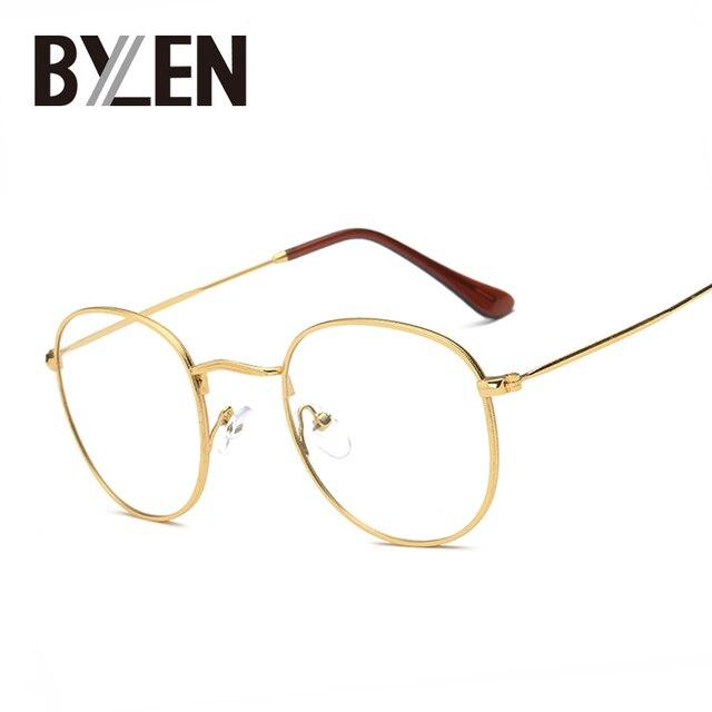 BYLEN Retro Eyeglasses Frames Men Big Metal Glass Frame Women Luxury ...
