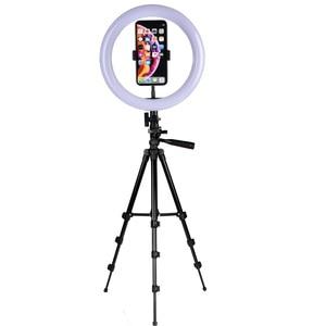 Image 5 - Lampa wideo 26 CM lampa pierścieniowa lampa pierścieniowa led na Youtube sesja zdjęciowa statyw do aparatu fotograficznego Studio z uchwytem na telefon