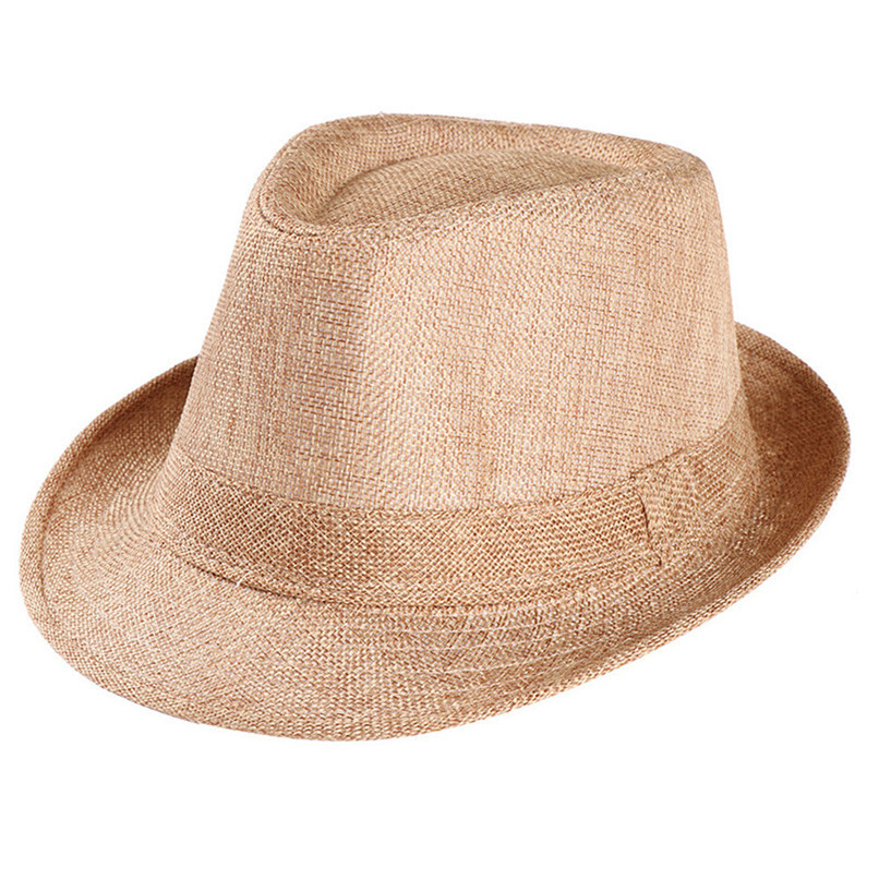 ... Fedoras Hombre Unisex Trilby Gangster Cap Beach Sun Straw Hat Band  Sunhat Beach Hats Women Summer ... dc9ced76604e
