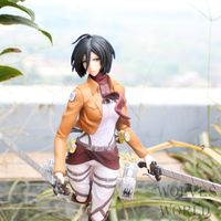 J.G Chen Free Shipping Anime Attack on Titan Figma Mikasa Ackerman 25CM PVC Action Figure Collectible Model Toy