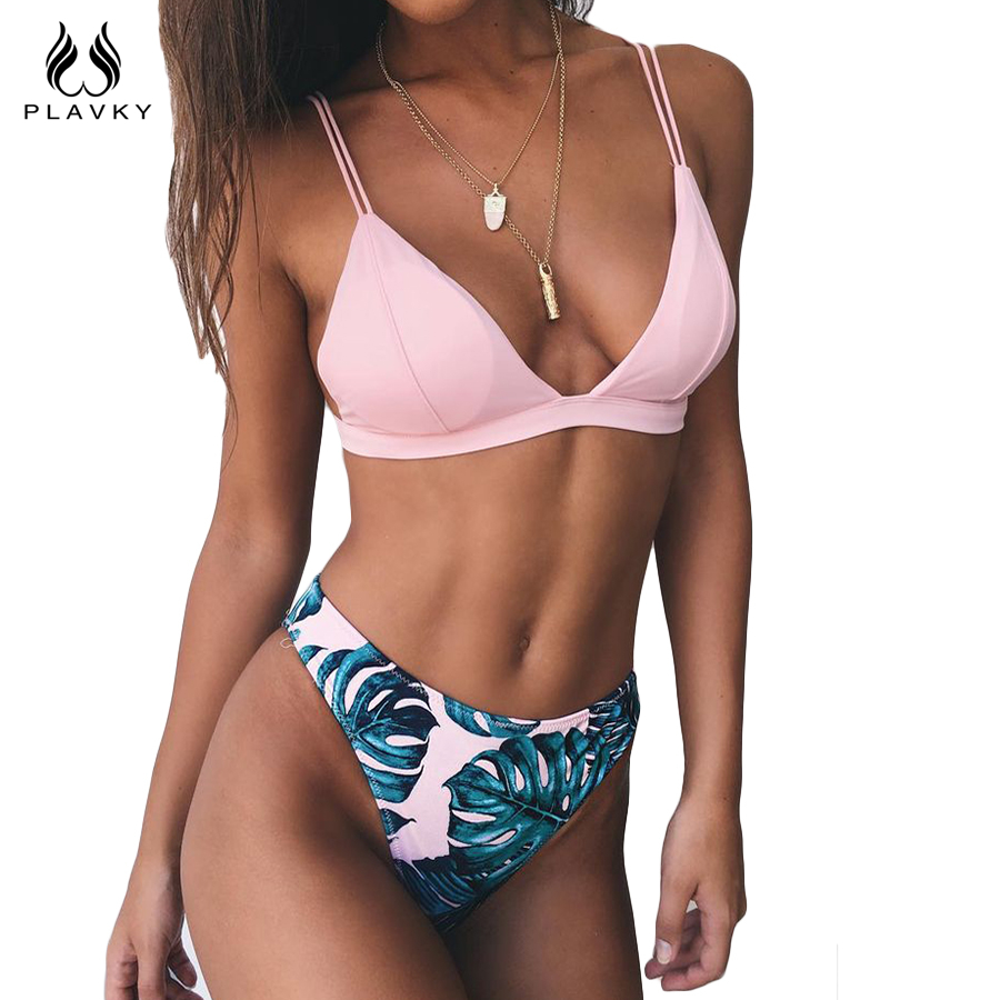 PLAVKY 2018 Sexy Pink Palm Leaf Tropical Biquini High Cut Swim Wear Bathing Suit Swimsuit Thong Swimwear Women Push Up Bikini
