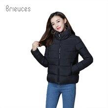 Brieuces autumn winter new solid stand collar zipper cotton coat women high quality loose short parka