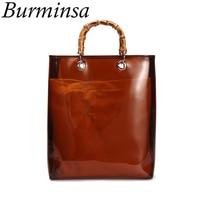 Burminsa Transparent Beach Bags Large PVC Clear Purse Women Designer Handbags High Quality Bamboo Handle Causal Tote Summer 2019