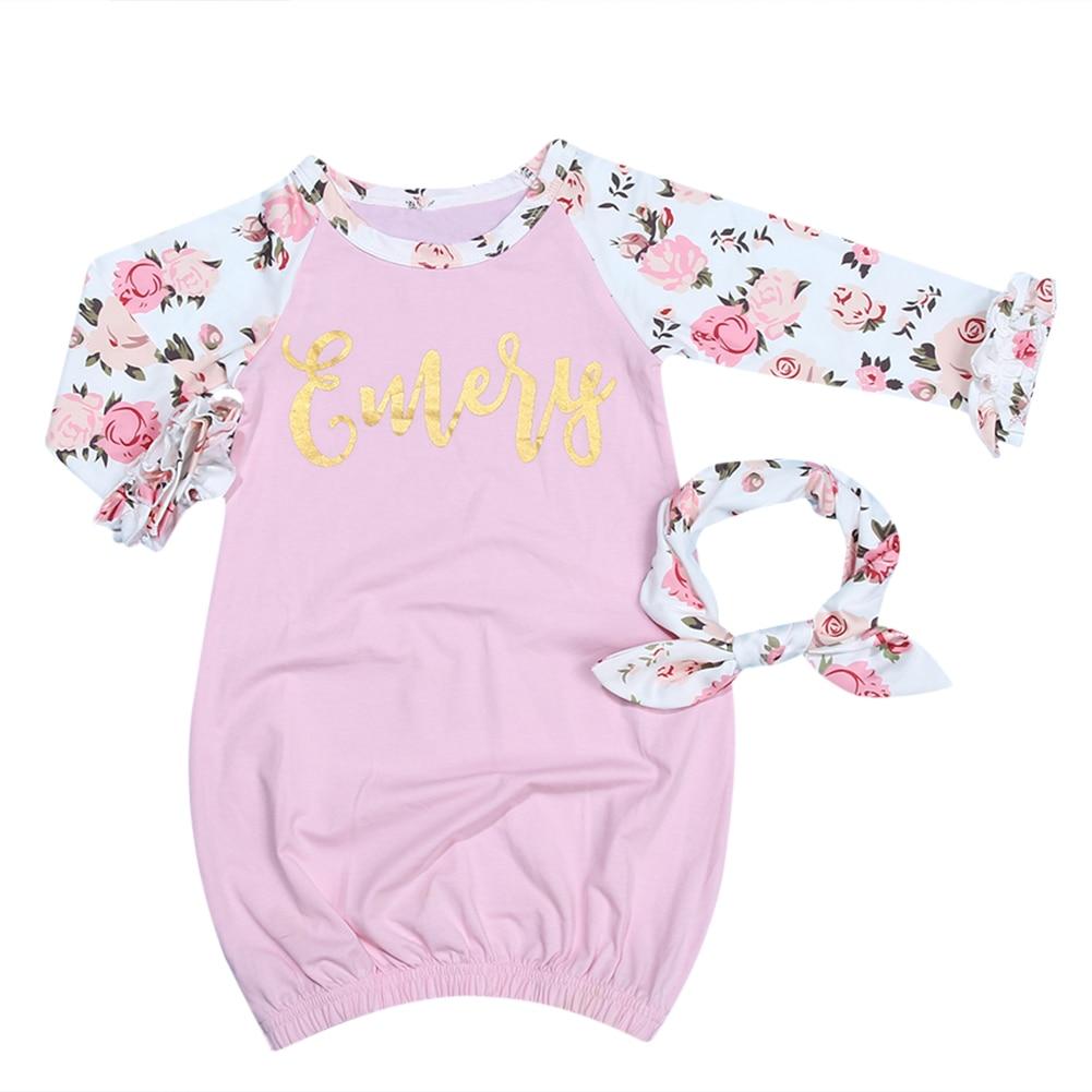 2pcs Baby Infant Girls Pink Printing Long Sleeve Sleeper Gown+Headband Summer Cotton Baby Girl Sleeping Bags