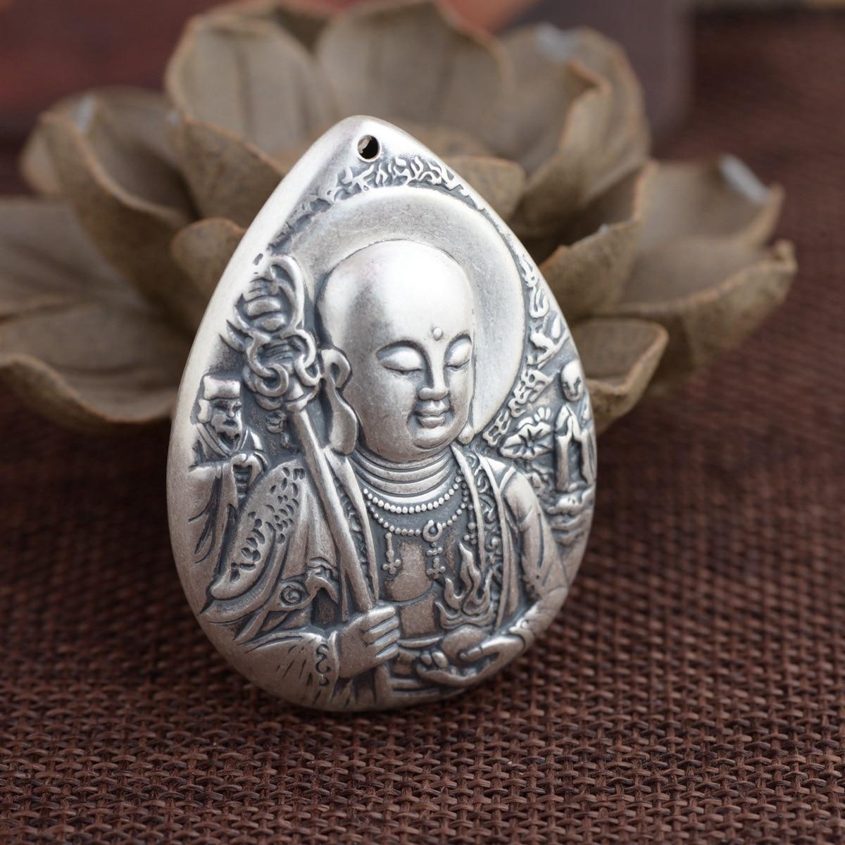 Cerf roi pendentif en argent S990 fine ligne de bijoux en argent bergamote style antique bouddhiste Bodhisattva nouveau