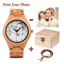 Kişilik yaratıcı tasarım müşterileri fotoğraf UV baskı ahşap izle özelleştirmek özelleştirme lazer baskı OEM büyük hediye saatler