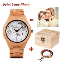 As fotos criativas dos clientes do projeto da personalidade que a impressão UV personaliza o OEM de madeira da cópia do laser da personalização do relógio