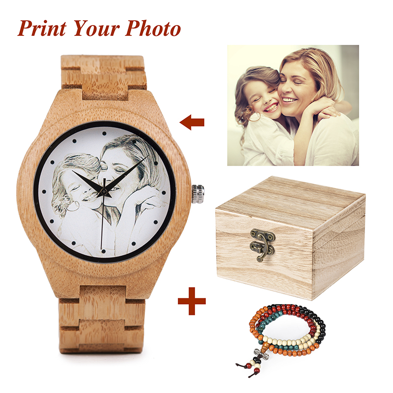 Personality Creative Design Customers Photos UV Printing Customize Wooden Watch Customization Laser Print OEM Great Gift Watches