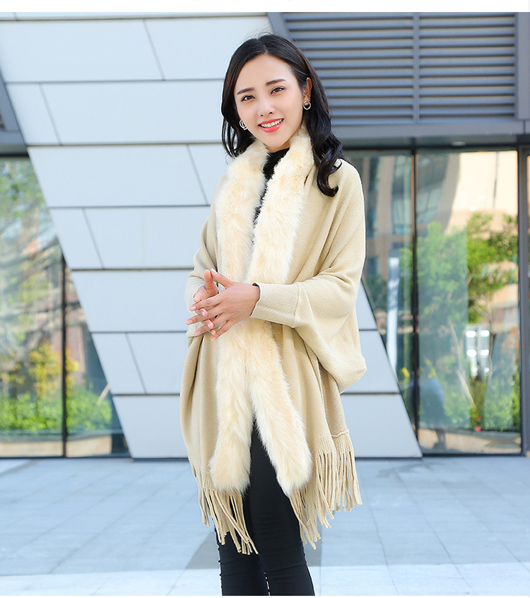 Faux Fur Collar Shawl Cardigan Tassel Winter Warm Coat 58