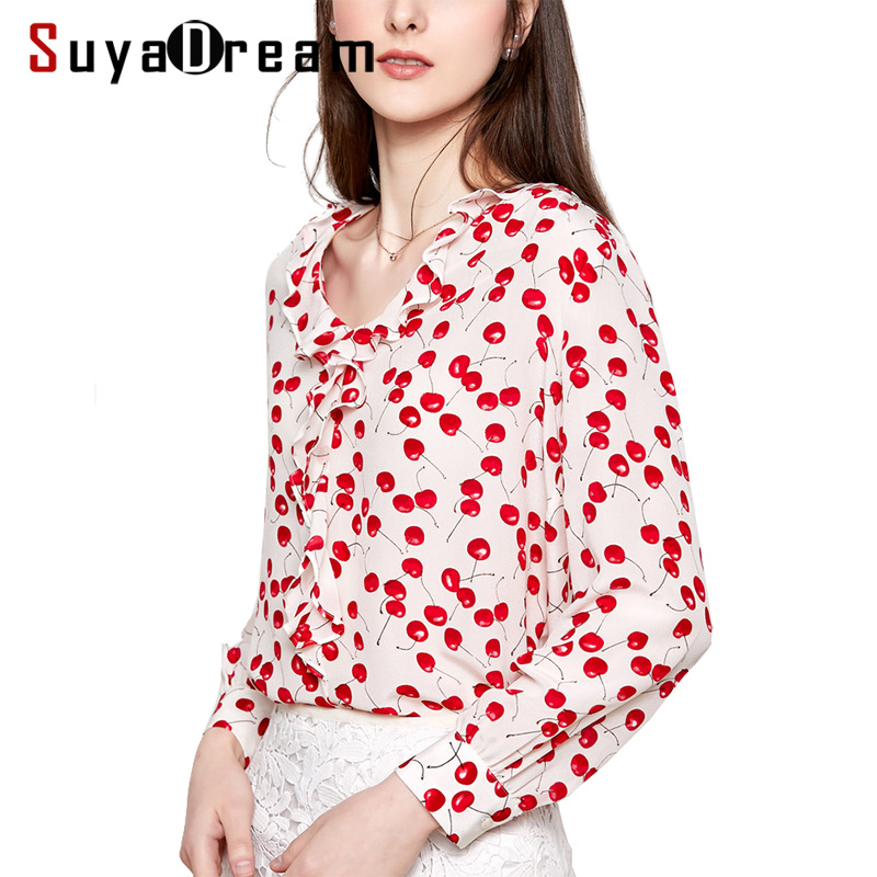Women Silk   Blouse   100% REAL SILK CREPE Cherry Printed   Blouses   for Women Ruffles V neck   Blouse     Shirt   2019 Spring Casual   Shirt