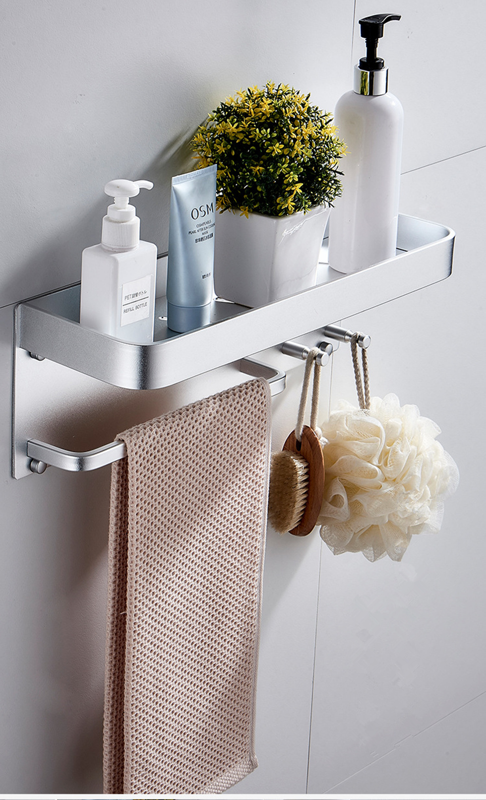 Wall-Mounted Black or Silver Bathroom Organization Shelf with Hooks