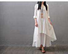 f86003bfbde Women's Daily Weekend Chinoiserie Maxi A Line Loose Dress Solid Colored  White Layered Spring Cotton White Yellow Red