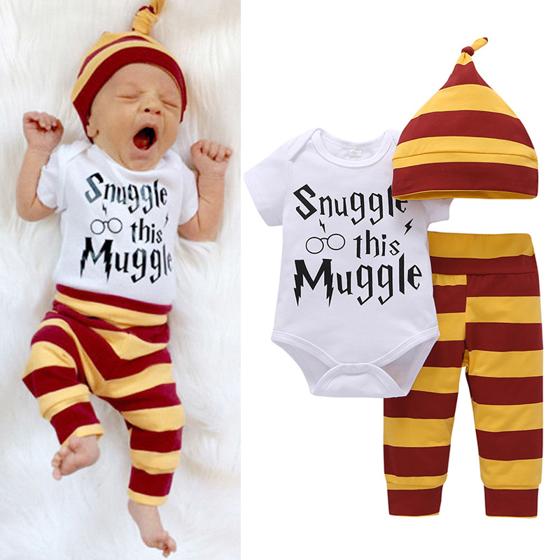 2017 Infants Baby boys girls clothing set Letter print Snuggle this Muggle 3PCS Bodysuit+Stripe Pants+Hat Outfits clothes sets цена и фото