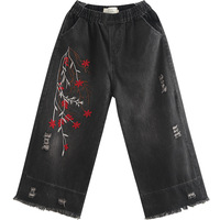 Autumn New Literary Hand painted Embroidery Elastic Waist Washing Frayed Jeans Wide Leg Pants