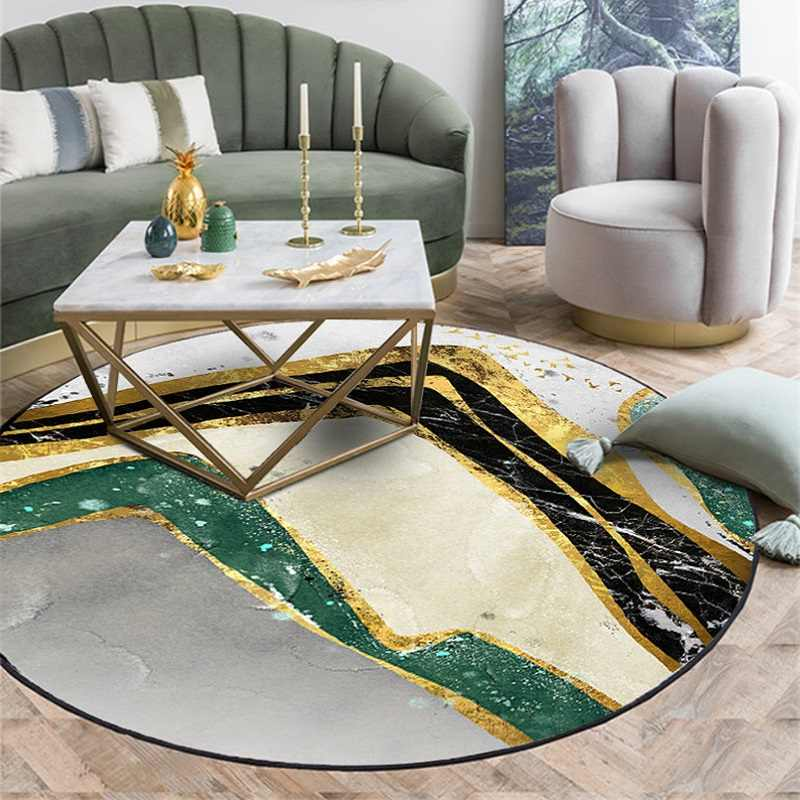 modern marble texture round carpet rug living room non slip tatami floor mat area rugs home chair round mat tapis salon rond
