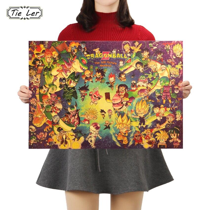 TIE LER Art Dragon Ball B Style Poster Dragon Ball Wall Stickers Anime Wallpaper Goku Gohan Mural Kid Decoration 50X35cm