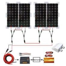400W 4x 100W Mono Solarmodule With 20A charger controllerv & 1KW 24V-220V inverter