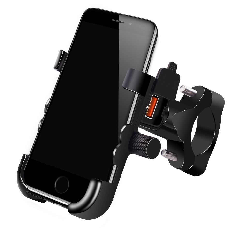 separation shoes b1fae 77118 US $17.8 11% OFF|Universal QC 3.0 USB Motorcycle Charger Phone Holder  Waterproof 12V Motocross Bike Mobile Phone Mount Power Adapter Handlebar-in  ...