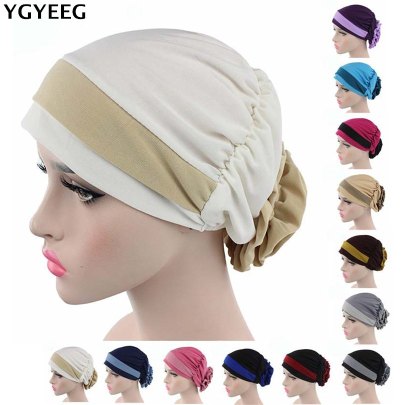 YGYEEG 2019 Women Muslim Hat 12 Colors Flower Head Cap Scarf Fashion Soft Caps Lady Summer Spring Beanies Elastic Cloth Towel