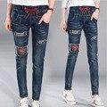Bordado джинсы плюс размер толстые высокой талией джинсы для женщин 2017 новый эластичный пояс плюс джинсы 5XL синие брюки джинсы женский