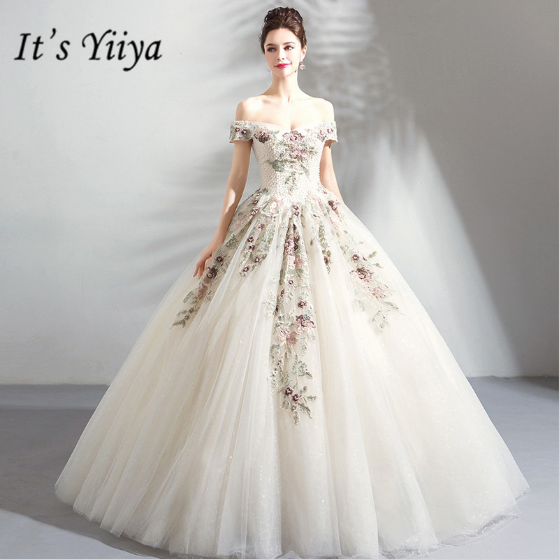 It's YiiYa Wedding Dresses Boat Neck Short Sleeves Ball Gown Floor Length Beading Long Party Dress Custom Plus Size 2019 E288