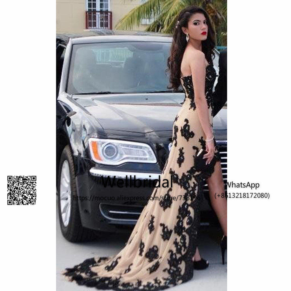 New 2019 Elegant Hi Lo Gown Evening Dresses With Black Lace Long Assymetrical Off Shoulder Formal Gown Evening Dress For Women
