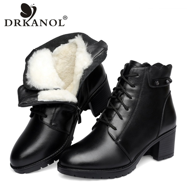 DRKANOL 2019 Natural Wool Winter Warm Women Snow Boots Genuine Leather Ankle Boots Women Waterproof Shoes Thick High Heels Boots