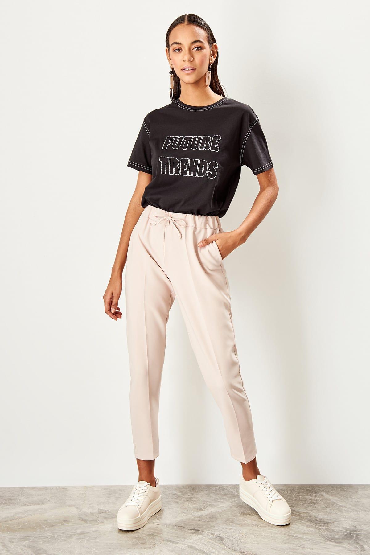 Trendyol Beige Lacing Detaylı Pants TWOSS19ST0212