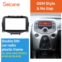 Seicane Black Double Din Car Radio Fascia for 2014 2015 Toyota Aygo Panel Adaptor Audio Frame Stereo Installation
