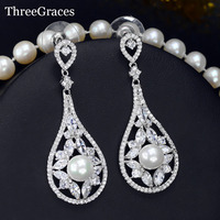 ThreeGraces Vintage Pearl Jewelry White Gold Color Long Dangle Cubic Zirconia Big Round Drop Earrings For Women ER006