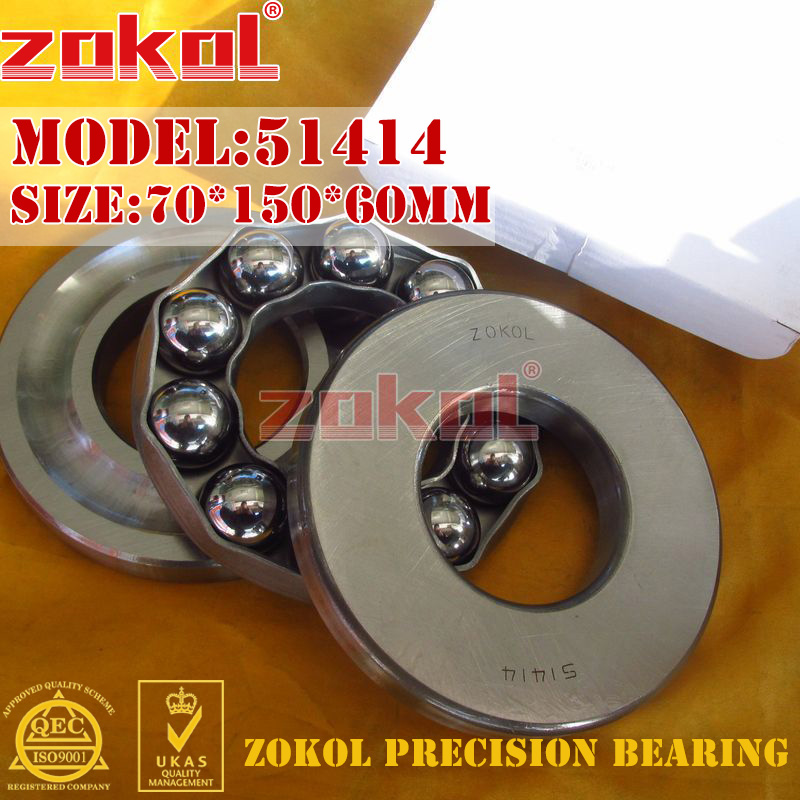 ZOKOL bearing 51414 Thrust Ball Bearing 8414 70*150*60mm zokol bearing 51130 thrust ball bearing 8130 150 190 31mm