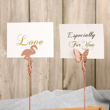 Romantic Butterfly Flamingo Pattern Metal Photo Clip Table Number Stand Paper Clamp Cool Wedding Place Card Holder