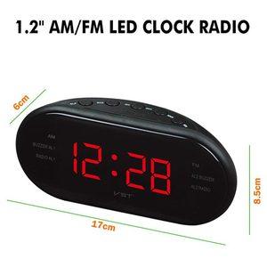 Image 4 - AM/FM LED שעון רדיו עם אזעקות כפולה שינה נודניק פונקציה לשקע מופעל גדול ספרות תצוגה עבור שינה מתוזמן כיבוי