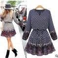 Плюс Размер Платья Женщин Dress Spring Dress 2015 Новая Мода Mujer Похудения Распечатать Шифоновые Платья Vestidos C273