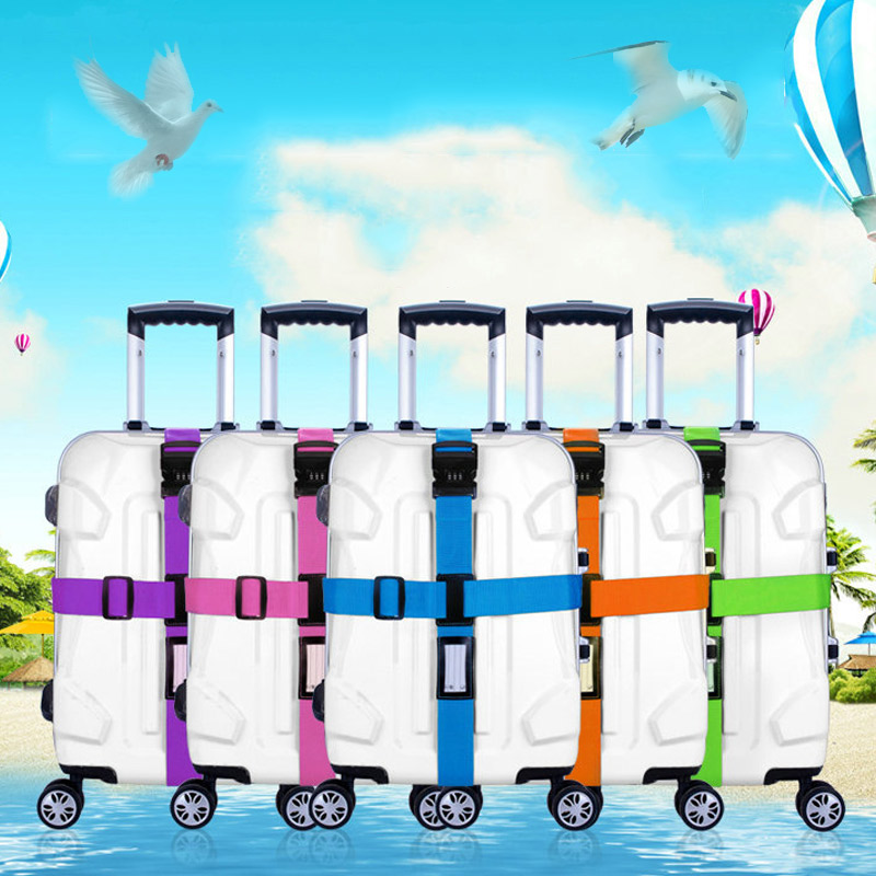 Luggage Strap Cross Belt Packing Adjustable Travel Suitcase Nylon 3 Digits Password Lock Buckle Strap Baggage Belts LT88