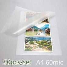 50 шт./лот 60 Mic A4 термоламинирующая Пленка ПЭТ для фото/файлов/карт/картин ламинирование рулон горячей холодной упаковки ламинатор бумаги