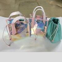 Принцесса сладкий Лолита сумка корейской версии лазерный материал прозрачный цвет небольшой CK портативный сумки кросс желе мешок WW001