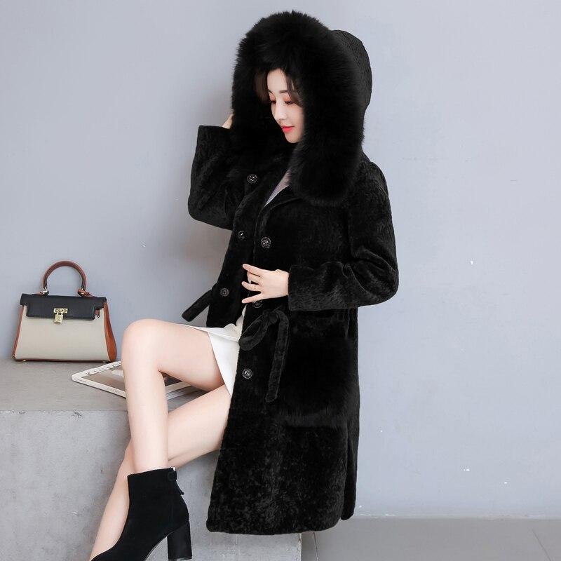 De Long Orange Capuchon Agneau Zipper Haute Pour Qualité Faux Ym131 Manteau En noir Slim Vestes Fourrure À Femmes Chaud Hiver Fausse Femelle vert Manteaux Mode EwBvnTxwqa