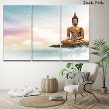 цена Canvas Painting Buddha Sculptures beautiful sky 3 Pieces Wall Art Painting Modular Wallpapers Poster Print Home Decor онлайн в 2017 году